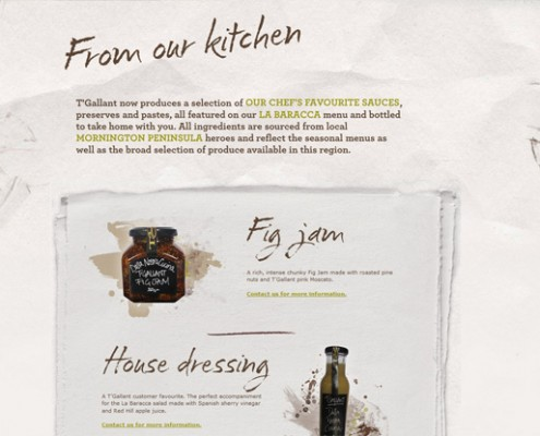 T'Gallant - Agency Work - 'From the Kitchen' page