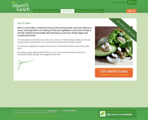 Mum's Lunch - Agency Work - Basic Page