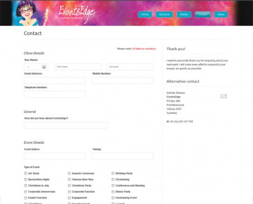 EventsEdge - Web Design - Contact page