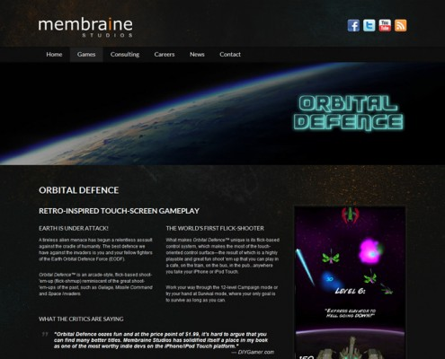 Membraine Studios - Game landing page